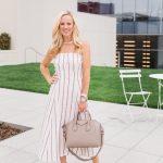 Alicia Wood, Dallas Lifestyle Blogger, Dallas Fashion Blogger, Theory Striped Linen Dress, Givenchy Antigona Satchel, Valentino Rockstud Espadrilles