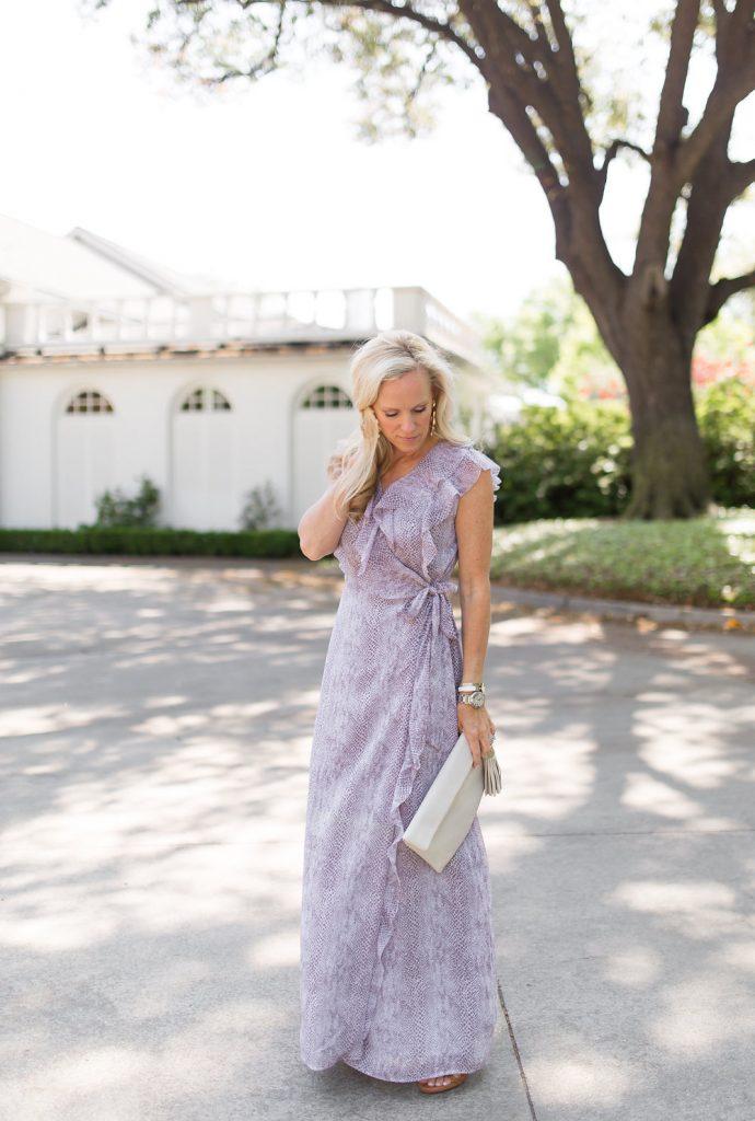 What To Wear To A Summer Wedding | Chiffon Ruffle Maxi Dress
