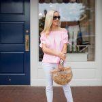 Alicia Wood, Dallas Lifestyle Blogger, Dallas Lifestyle Expert, Dallas Fashion blogger, Pink Off the Shoulder Top, Sophia Webster Lucita Espadrilles, Cult Gaia Ark Bag