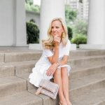 Alicia Wood, Dallas Lifestyle Blogger, Dallas Fashion Blogger, Simply Sophisticated Summer, White ruffle Dress, French Tweed Clutch