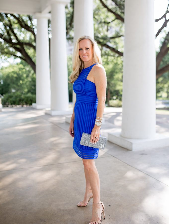 Alicia Wood, Dallas Lifestyle Blogger, Dallas Fashion Blogger, Lilly Pulitzer Blue Dress, Lilly Pulitzer Rae Shift Dress, Charlotte Max Lucite Clutch