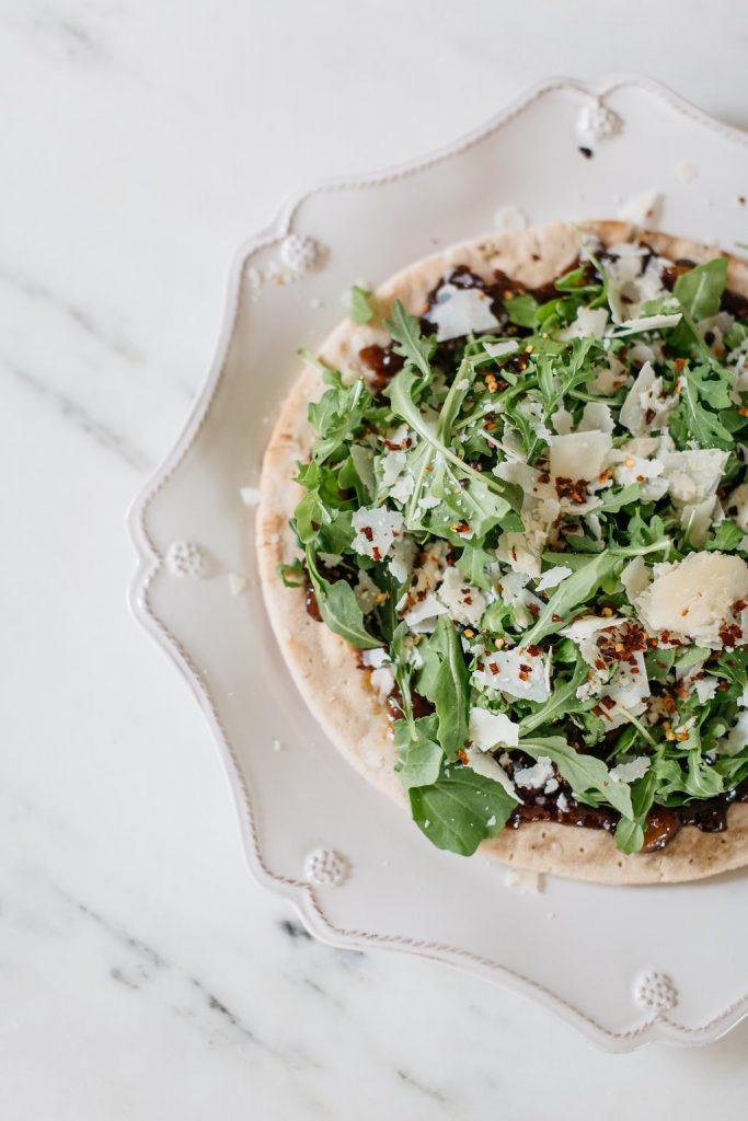Carmelized Onion Arugula Flatbread, Gluten Free Flatbread Recipe, Dallas Food Blog