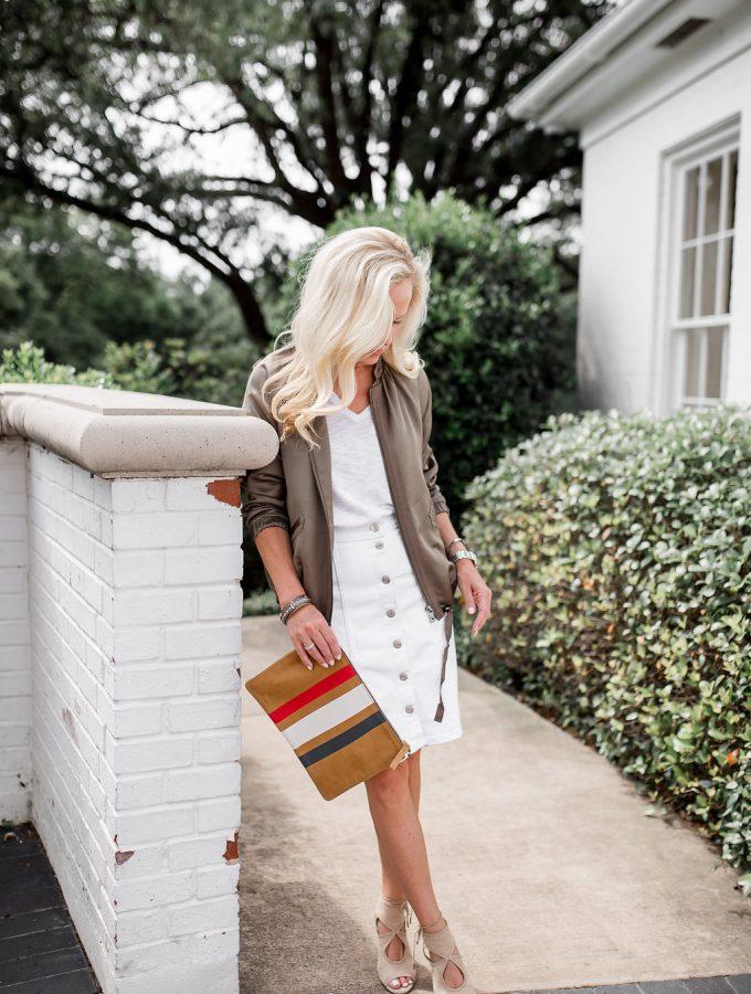 Alicia Wood, Dallas Fashion blogger, Dallas Lifestyle Blogger, Satin Bomber Jacket, Army Green Bomber Jacket, Clare V. Stripe Clutch, Aquazzura Sexy Thing Sandal, Banana Republic Satin Bomber