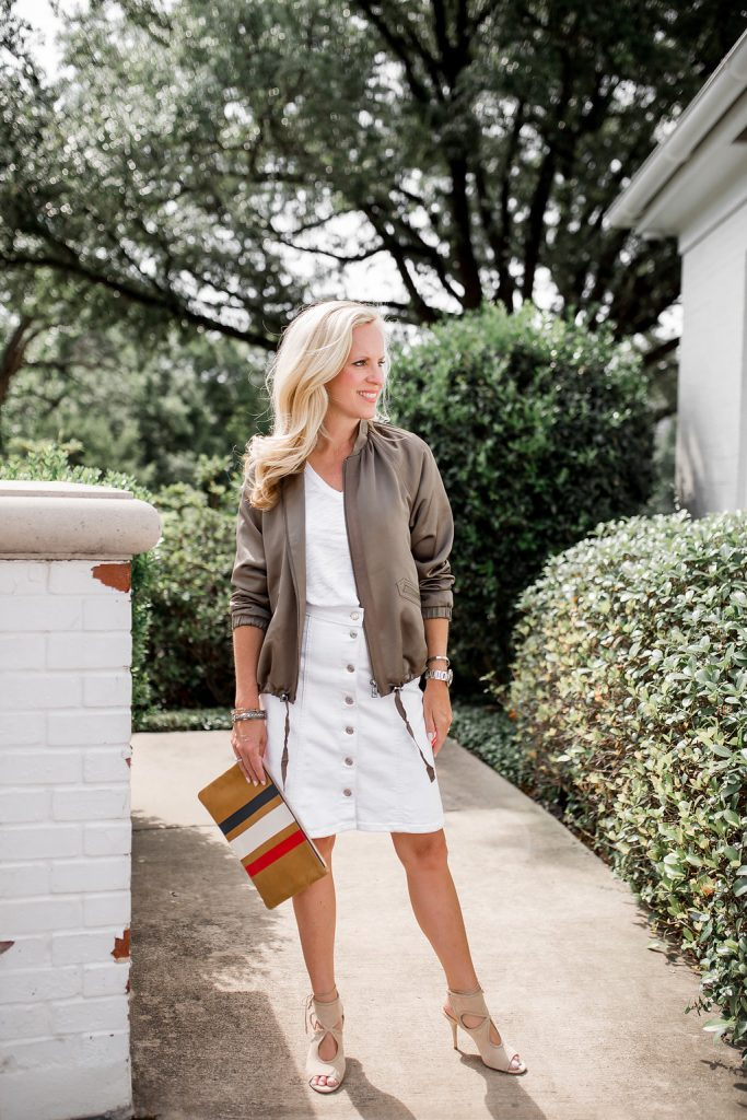 Alicia Wood, Dallas Fashion blogger, Dallas Lifestyle Blogger, Satin Bomber Jacket, Army Green Bomber Jacket, Clare V. Stripe Clutch, Aquazzura Sexy Thing Sandal, Banana Republic Satin Bomber