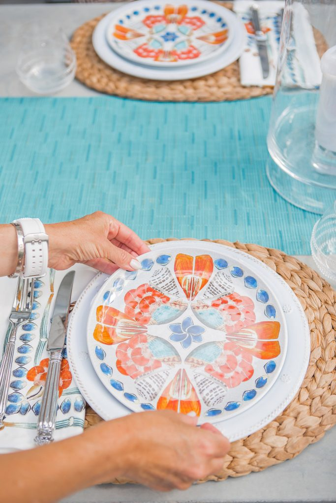 Juliska Outdoor Dinnerware, Juliska Oceanica Plate, Outdoor Entertaining in Dallas