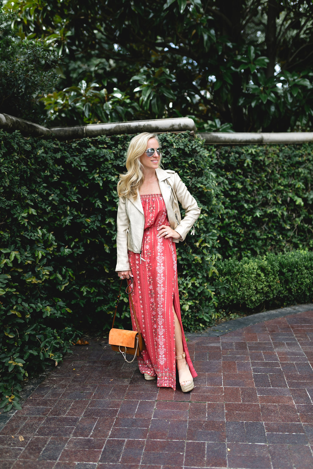 Alicia Wood, Dallas Lifestyle Blogger, Dallas Fashion Blogger, Joie Gold Leather Jacket, Joie Terracotta Maxi Dress, New Chloe Faye Bag, Chloe Espadrilles