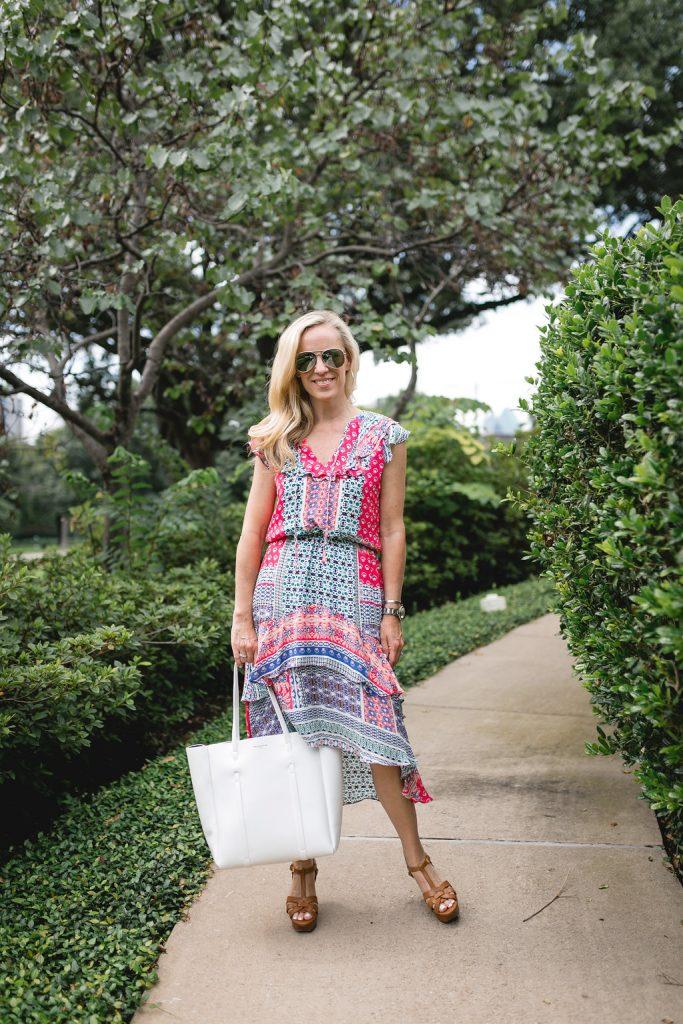 Alicia Wood, Dallas Lifestyle Blogger, Dallas Fashion Blogger, Sistine Tiered Ruffled Silk Dress, White Balenciaga Tote, Brown Leather YSL Tribute