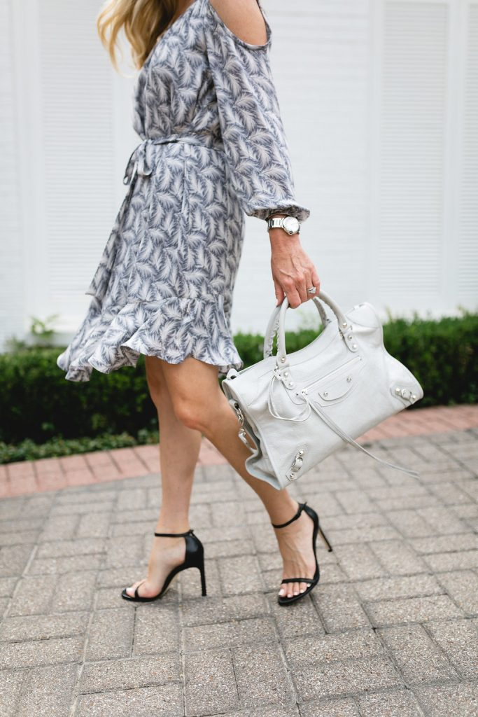Cold Shoulder + Iconic Balenciaga Bag | Feathers and Frills