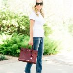 Alicia Wood, Dallas Lifestyle Blogger, Dallas Fashion Blogger, Best Color Handbag for Fall, Burgundy Saint Laurent Sac de Jour, 3.1 Philip Lim Corset Top, Mother Denim Cropped Flare Jean
