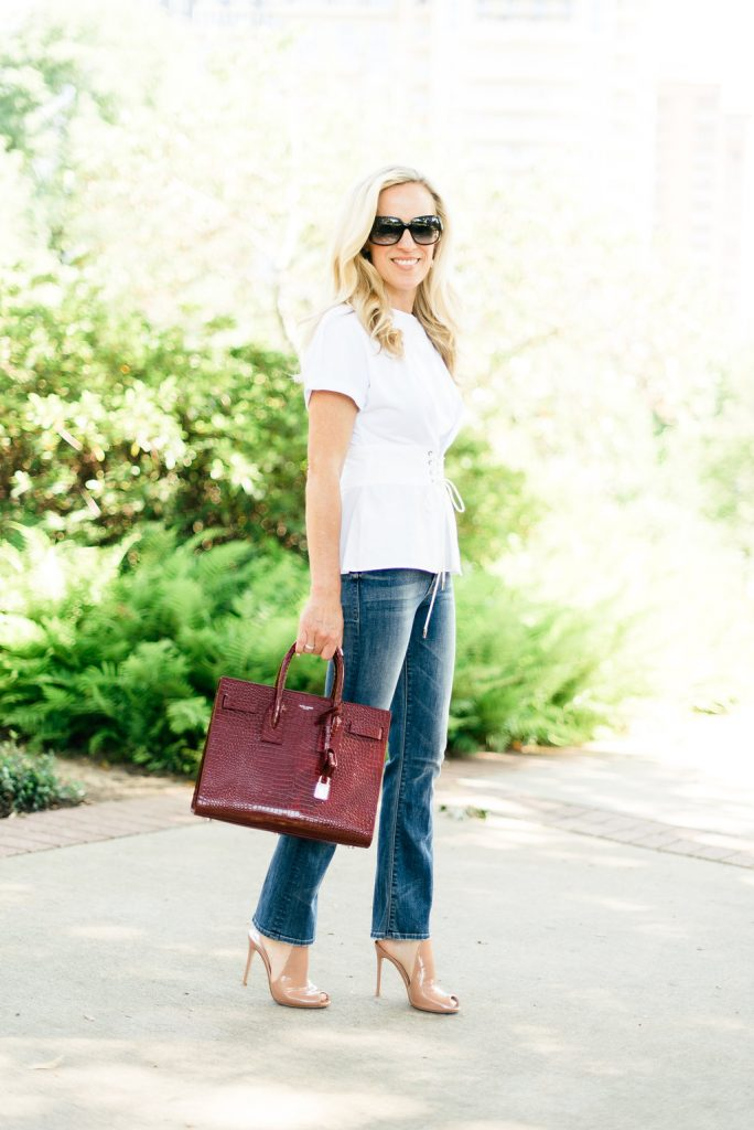 Alicia Wood, Dallas Lifestyle Blogger, Dallas Fashion Blogger, Best Color Handbag for Fall, Burgundy Saint Laurent Sac de Jour, 3.1 Philip Lim Corset Top, Mother Denim Cropped Flare Jean