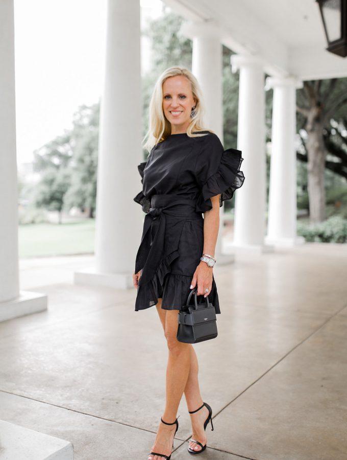 Alicia Wood, Dallas Lifestyle Blogger, Dallas Lifestyle Expert, Dallas Fashion Blogger, Storets Jenny Wrap Dress, Givency Nano Horizon Bag,
