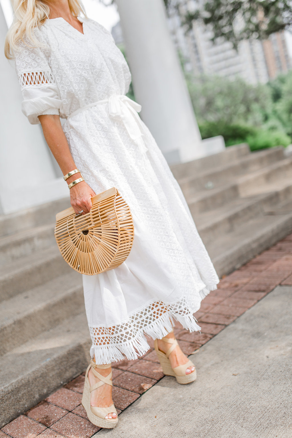 White Eyelet Dress, Storets Eyelet Dress, Cult Gaia Ark Bag