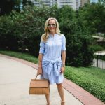 Alicia Wood, Dallas Lifestyle Blogger, Veronica Beard Stella Tie-Front Striped Poplin Shirtdress