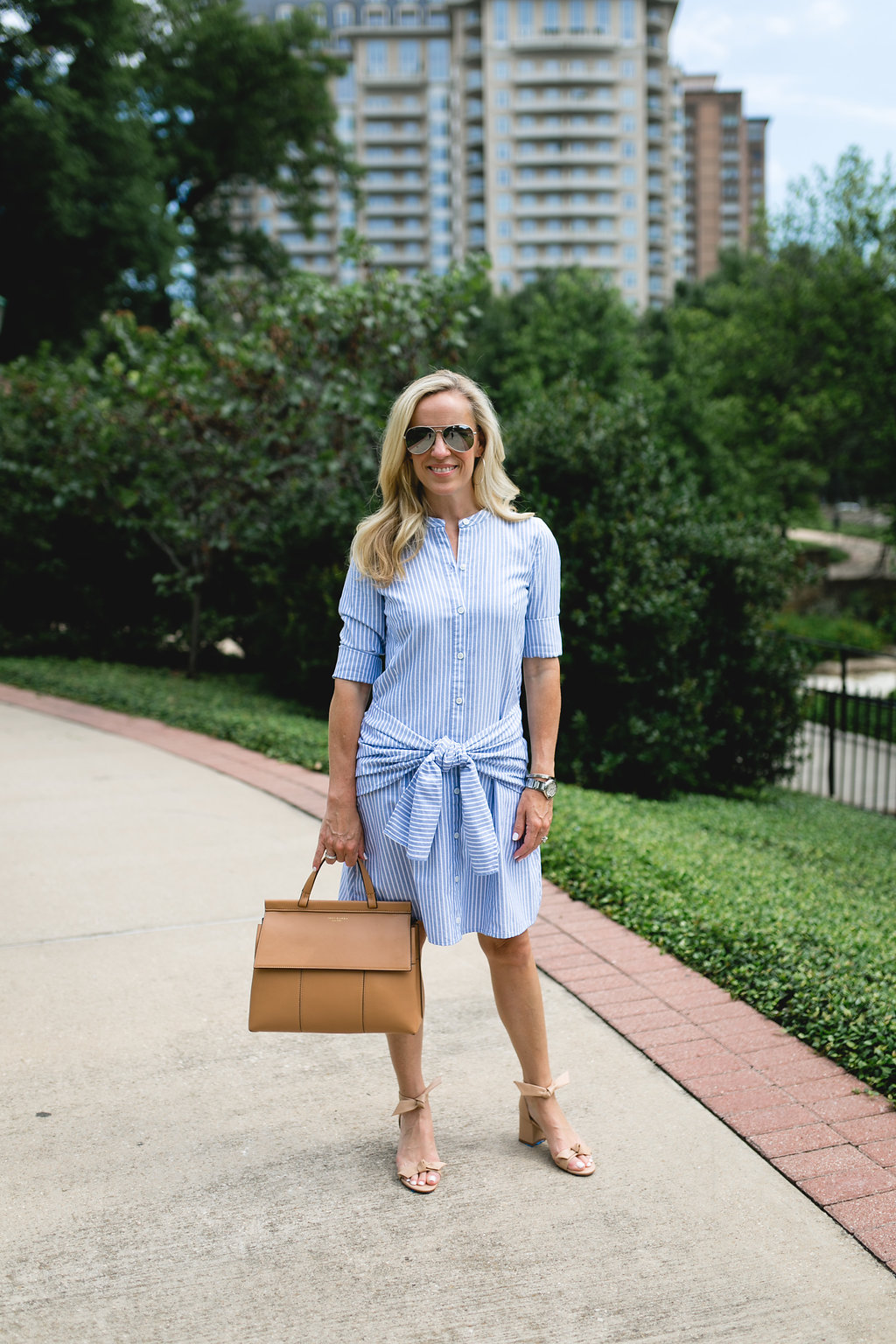 Alicia Wood, Dallas Lifestyle Blogger, Veronica Beard Stella Tie-Front Striped Poplin Shirtdress