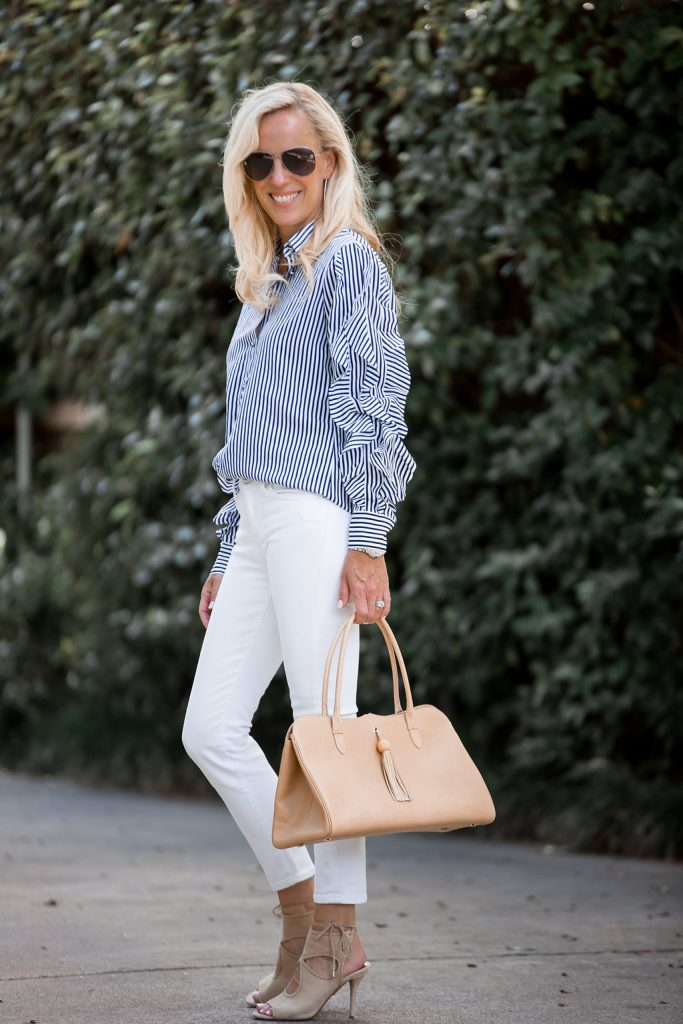 White After Labor Day: Ruffles, Stripes and White Jeans + A Great Giveaway