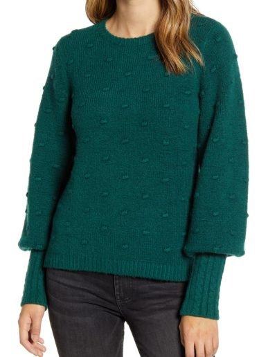 Green Balloon Sleeve Sweater