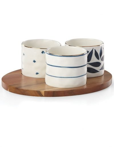 Snack Bowls & Wood Tray