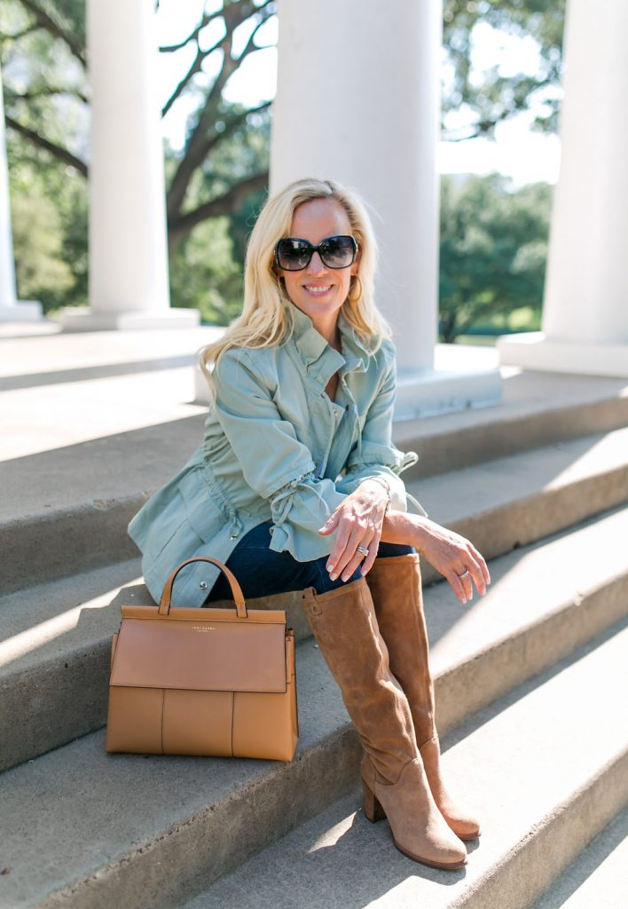 Alicia Wood, Dallas Lifestyle Blogger, Dallas Fashion blogger, Dallas Lifestyle Expert, Bell Sleeve Surplus Jacket, Utility Jacket, Tory Burch T block Satchel, Ugg Boots