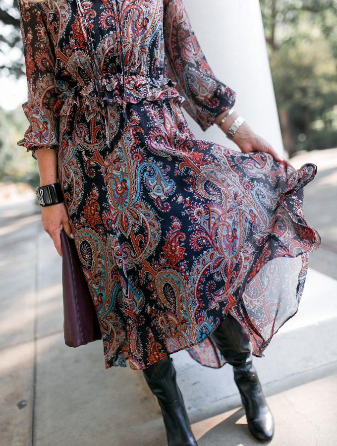 Banana Republic x Olivia Palermo Collection, Olivia Palermo Paisley Dress, Via Spiga Soho Boot, Burgundy Clutch