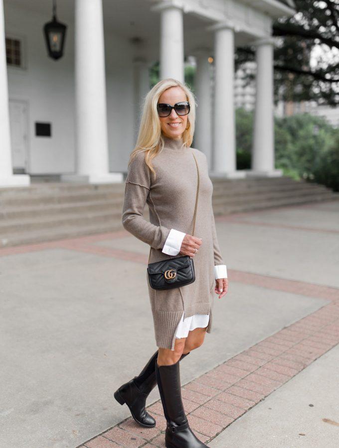 Alicia Wood, Dallas Lifestyle Blogger, Dallas Lifestyle Expert, Neiman Marcus Last Call, Cashmere Sweater Dress, Gucci Marmot