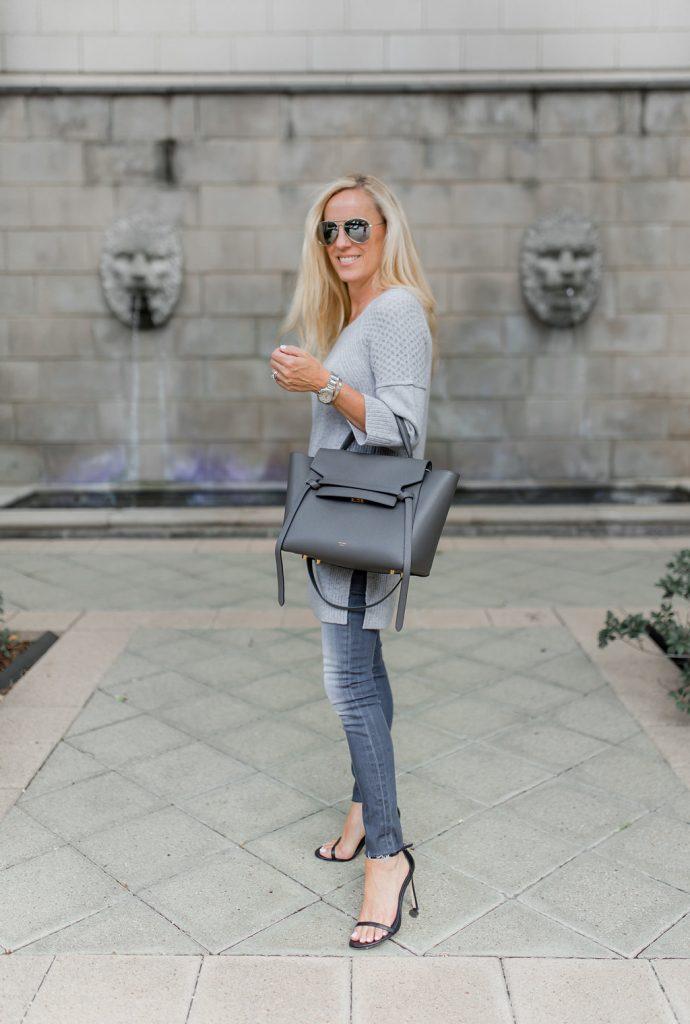 Alicia Wood, Dallas Lifestyle Expert, Dallas Fashion Blogger, Gray Celine Belt Bag, Pantone Neutral Gray