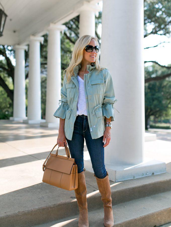 Alicia Wood, Dallas Lifestyle Blogger, Dallas Fashion blogger, Dallas Lifestyle Expert, Bell Sleeve Surplus Jacket, Utility Jacket, Tory Burch T block Satchel, Ugg Boots