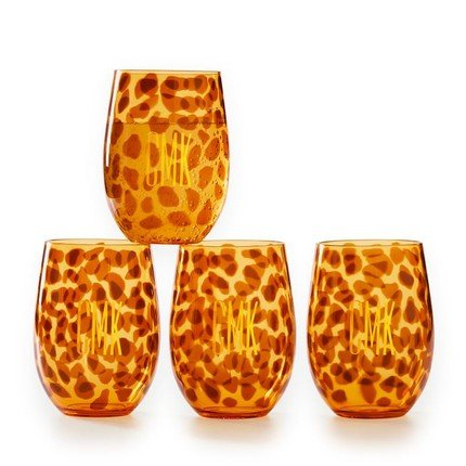 Acrylic Animal Print Stemless Wine Glasses