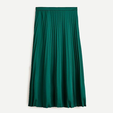 Green Pleated Midi Skirt-Alicia Wood Lifestyle Fall Style