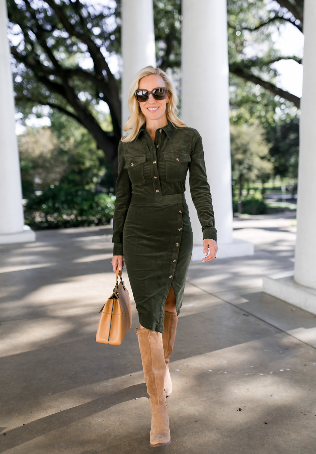 Alicia Wood, Dallas Lifestyle Blogger, Dallas Fashion blog, Veronica Beard Dress, Veronica Beard Britton Dress, Tall Ugg Boots, Tory Burch T Block Satchel