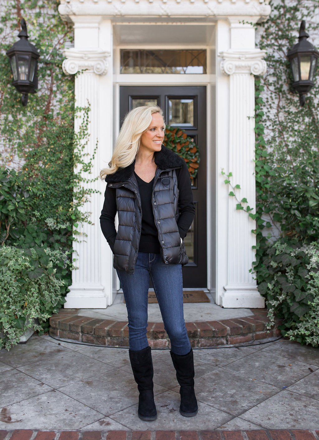 Alicia Wood, Dallas Lifestyle Blog, Dallas Lifestyle Blogger, Dallas Fashion blogger, Ugg Shearling Trim Vest, Ugg Kara Slim boot