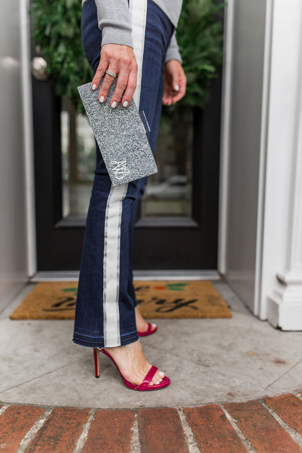 How To Wear Jeans to a Holiday Party | Tuxedo Stripes and Sparkle