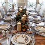 Juliska Forest Walk Tablescape, Woodland Thanksgiving Tablescape, Birch Candles, Gracious Garlands, Magnolia Garland, Beautiful Thanksgiving Table Idea