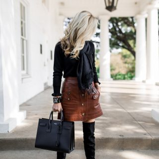Alicia Wood, Dallas Lifestyle Blogger, Dallas Fashion Blogger, Veronica Beard Monroe Cargo Leather Skirt, Black Over The Knee Boots, OTK Boots, Ivanka Trump OTK Boots, Saint Laurent Sac De Jour