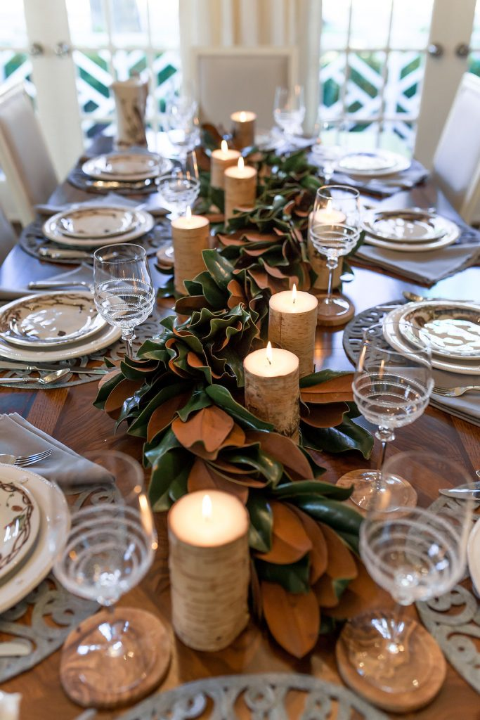Juliska Forest Walk Tablescape, Woodland Thanksgiving Tablescape, Birch Candles, Gracious Garlands, Magnolia Garland, Beautiful Thanksgiving Table Idea
