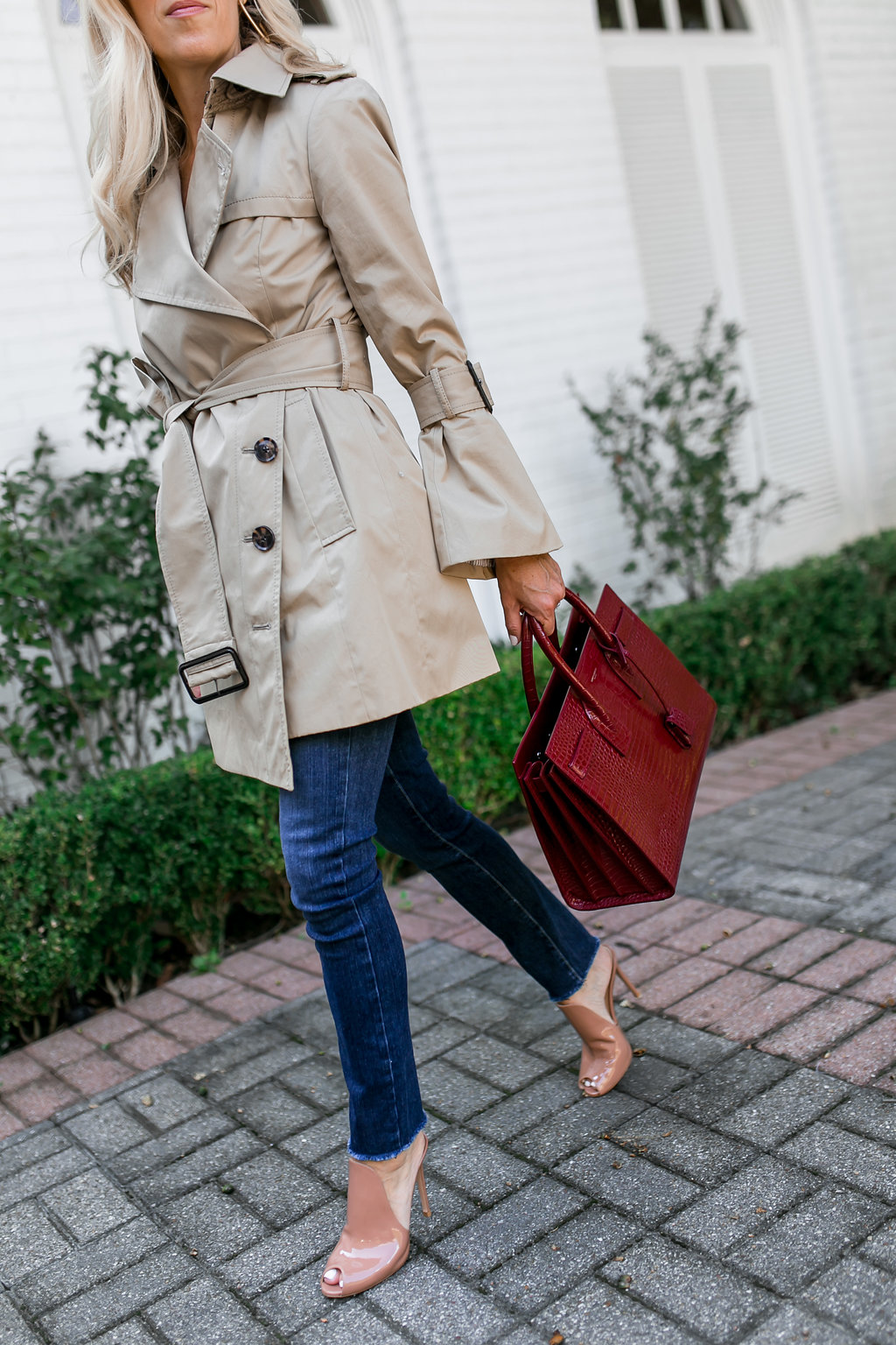 Alicia Wood, Dallas Lifestyle Blogger, Dallas Fashion Blogger, Best After Christmas Sales, Olivia Palermo Trench, Saint Laurent Sac De Jour, Gianvito Rossi Mules