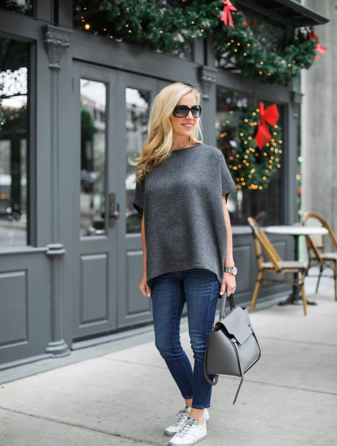 Alicia Wood, Dallas Lifestyle blogger, Golden Goose White/Silver Sneakers, Gray Celine Belt Bag
