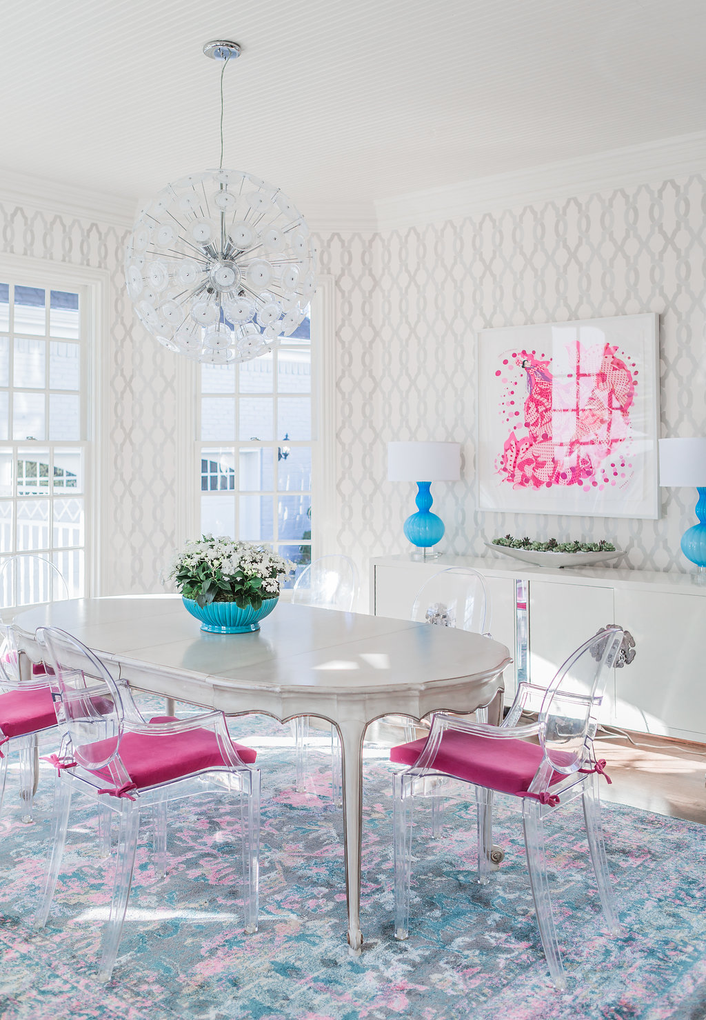 Bright White Breakfast Room, Breakfast Room with Pops of Color, Pink and Turquoise Breakfast Room, Crypton Fabric Sofa, Crypton Fabric Chair cushions, Kartel Ghost Chair, Transitional Breakfast Room