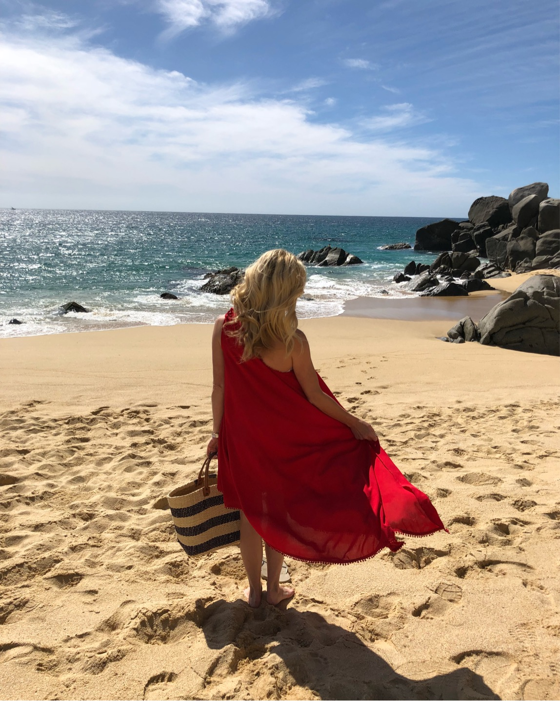 Red Carter One Shoulder Cover Up, Cabo, The Resort at Pedregal, Alicia Wood, Dallas Lifestyle Blogger