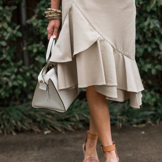 Alicia Wood, Dallas Lifestyle Blogger, Dallas Fashion Blogger, Banana Republic Spring New Arrivals, Ruffled Khaki Skirt, White Longchamp Le Pliage Heritage Handbag, See by Chloe Wedges