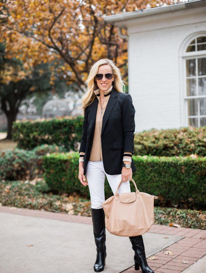 Alicia Wood, Dallas Lifestyle Blogger, Dallas Fashion Blogger, Veronica Beard Blazer, Classic Blazer, Longchamp Le Pliage Cuir