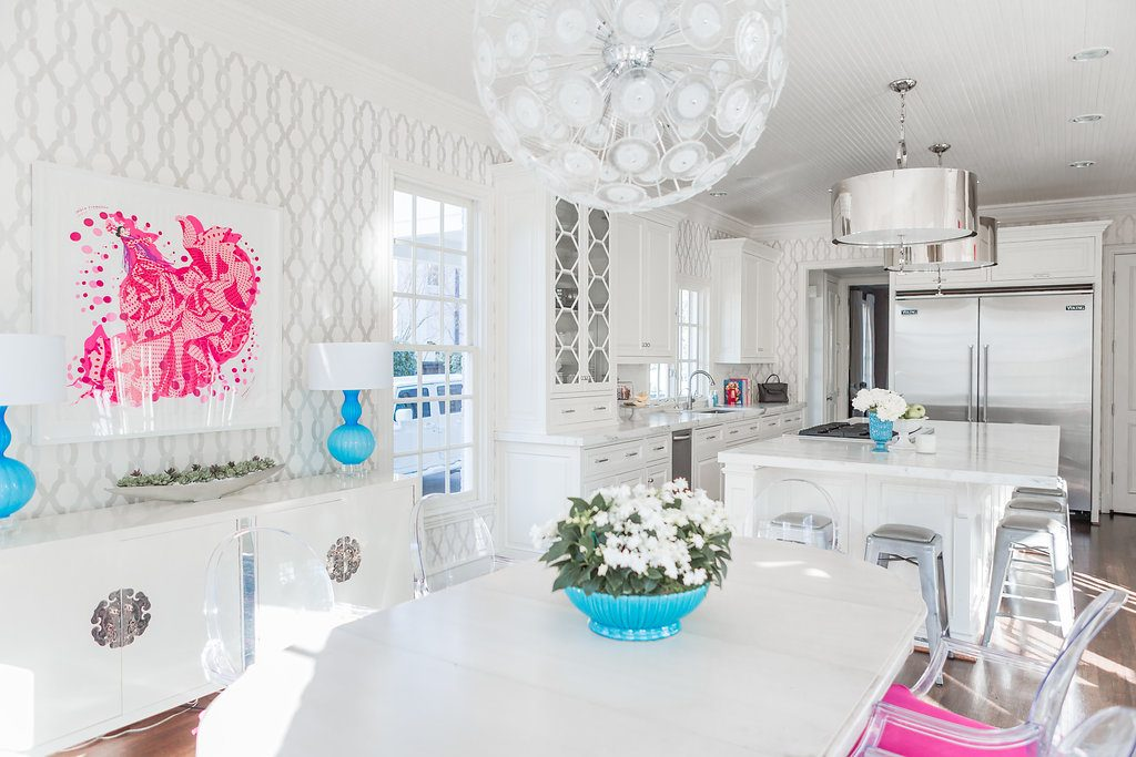 White Transitional Kitchen, Custom Kitchen Cabinets, Chandler Cabinets, Bright White Kitchen, Danby Olympian Marble, Large kitchen Island, Stainless Steel Drum Lights