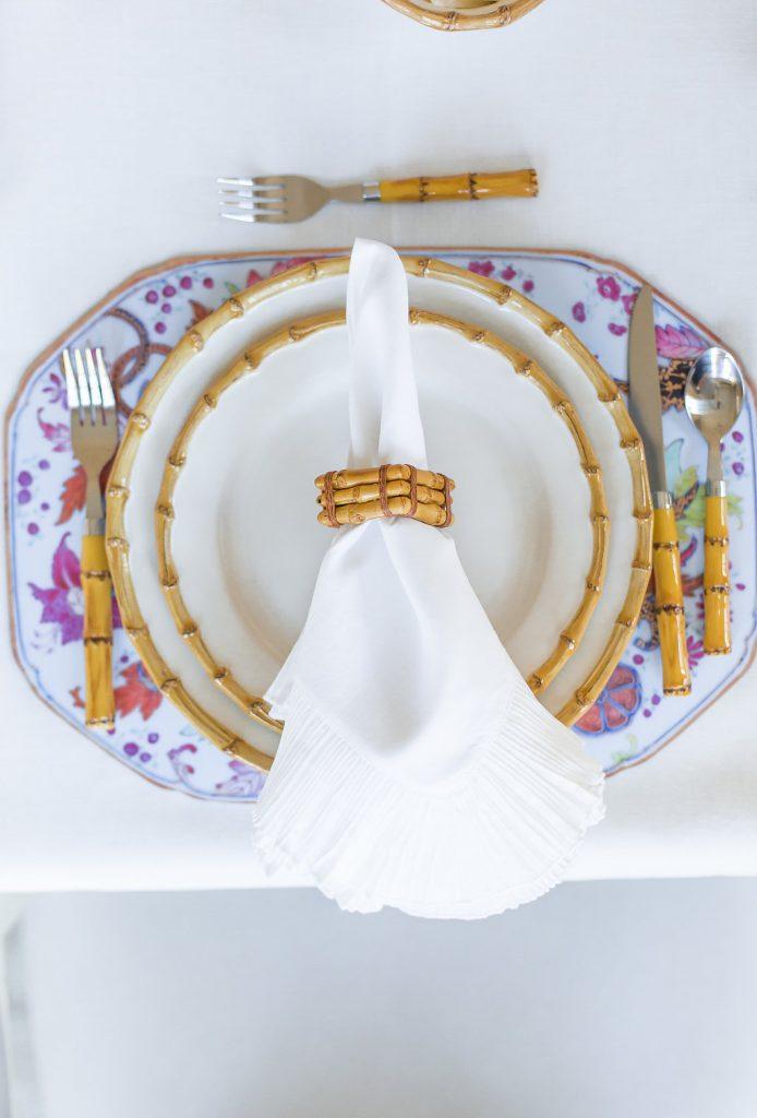 Pastel Easter Tablescape, Juliska Classic Bamboo, Juliska Classic Bamboo Napkin Ring, Mademoiselle Napkin, Bamboo Flatware