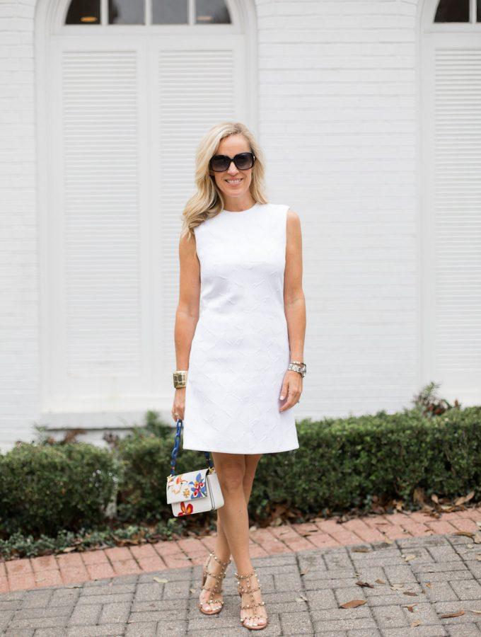 Alicia Wood, Dallas Fashion Blogger, Dallas Lifestyle Blogger, Balenciaga Shift Dress, Clotheshorse Anonymous, Tory Burch Kira Mini Bag, Valentino Rockstud City Sandal
