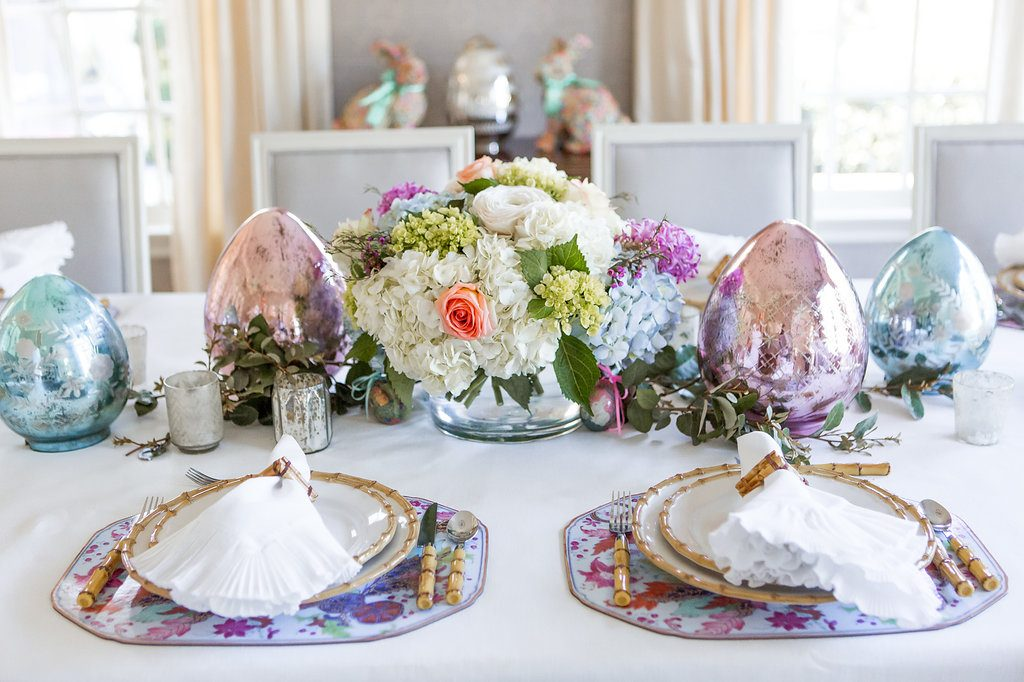 Pastel Easter Tablescape, Juliska Classic Bamboo, Juliska Classic Bamboo Napkin Ring, Mademoiselle Napkin, Bamboo Flatware, Pottery Barn Mercury Glass Eggs, Spring Flowers