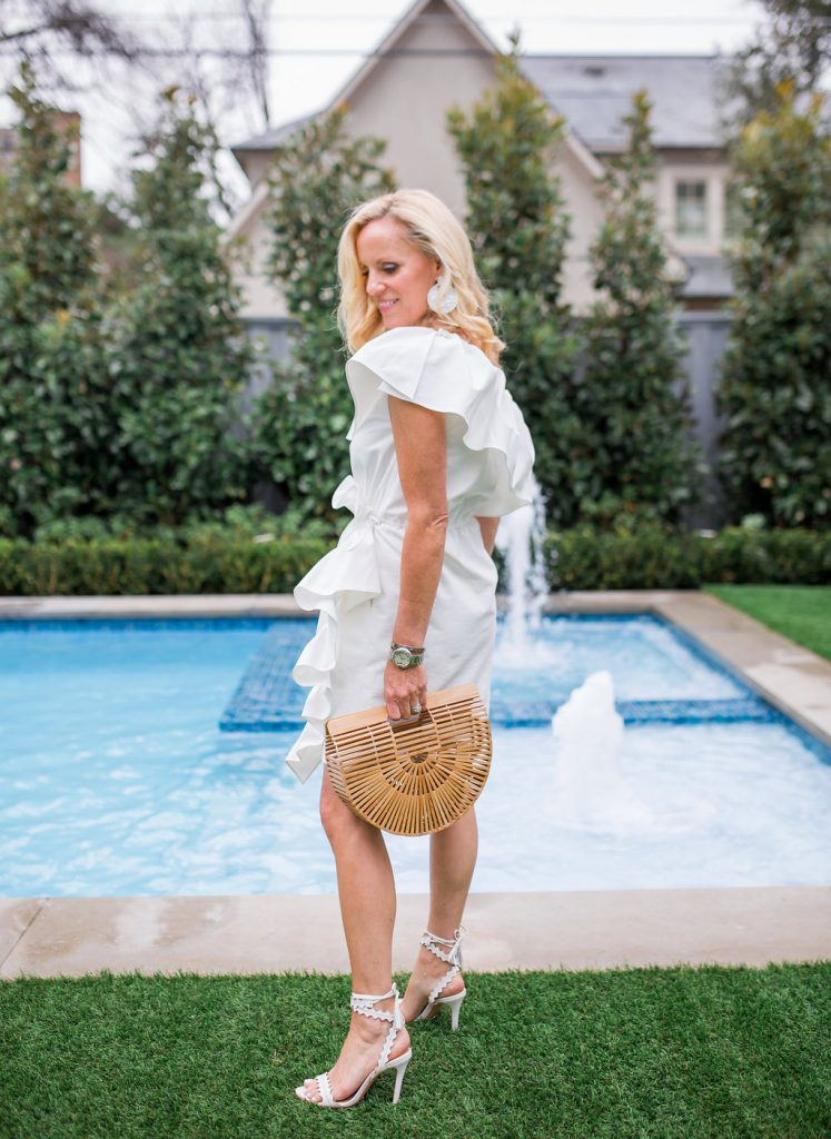 Alicia Wood, Dallas Lifestyle blogger, White Schutz Lisana Wrap Sandal Sandal, Cult Gaia Ark Bag, Goen J One Shoulder Dress