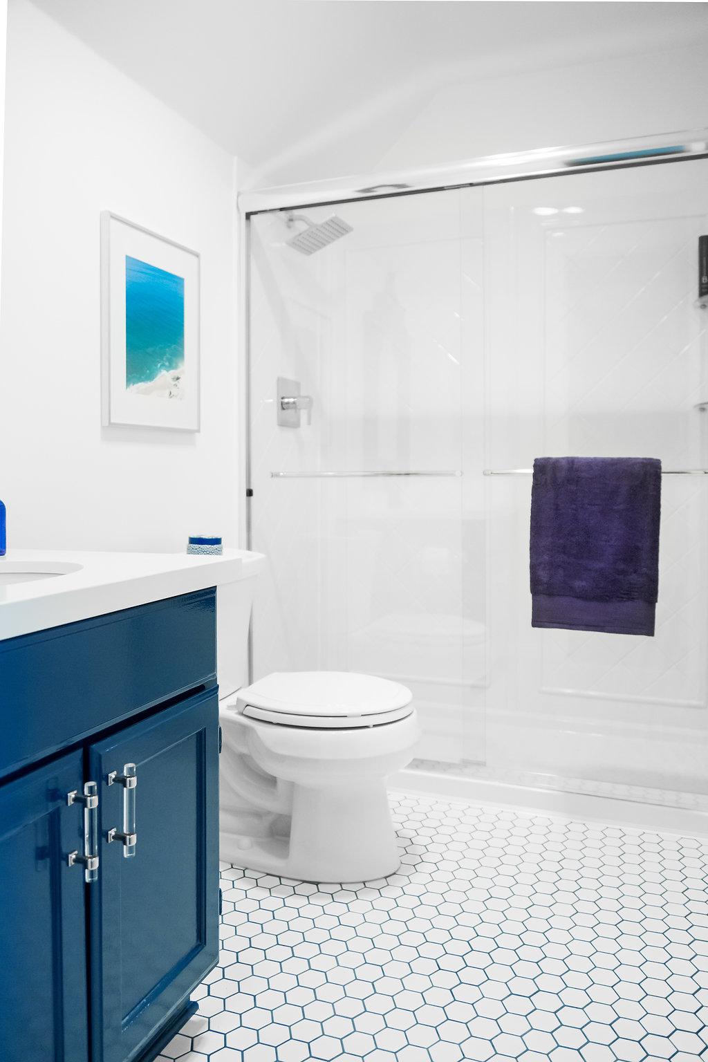 Dallas Renovation, Pool Bath, Navy and White Bath, #Wayfair1roomreno