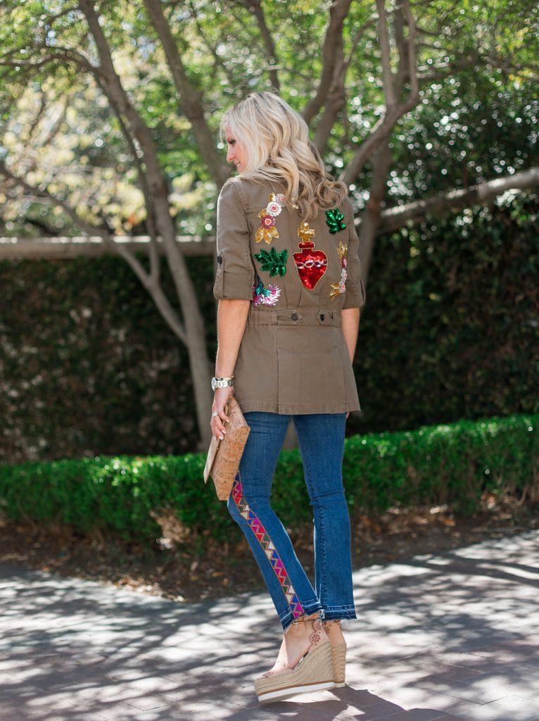 Veronica Beard Army Jacket, Veronica Beard jeans, See by Chloe Wedges