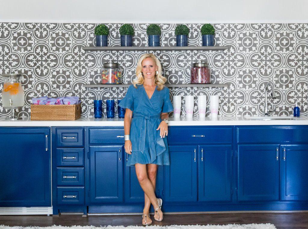Alicia Wood, Dallas Lifestyle Blogger, Dallas Renovation, Pool House, Cabana, #Wayfair1RoomReno, Cement Tile, Navy Cabinets