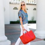 Alicia Wood, Dallas Lifestyle Blogger, Dallas Fashion Blogger, Clotheshorse Anonymous, Tory Burch blue and gold top, Clare V. Orange Tote, Alice and Olivia Beaded Wedges