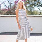 Alicia Wood, Dallas Lifestyle blogger, Dallas Fashion Blogger, Dallas Home Blogger, Banana Republic Tweed Stripe Asymmetrical Hem Dress, Rockstud espadrilles